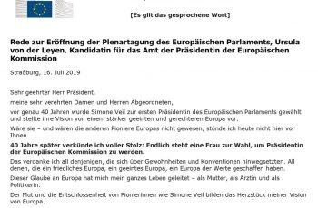 Rede zur Eröffnung der Plenartagung des Europäischen Parlaments, Ursula von der Leyen, Kandidatin für das Amt der Präsidentin der Europäischen Kommission