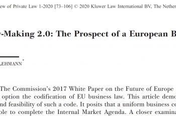 Matthias Lehmann: EU Law-Making 2.0