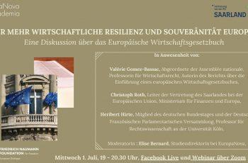 Webinar über das Europäische Wirtschaftsgesetzbuch: Für mehr wirtschaftliche resilienz und souveränität europas, 1. Juli, 19 – 20.30